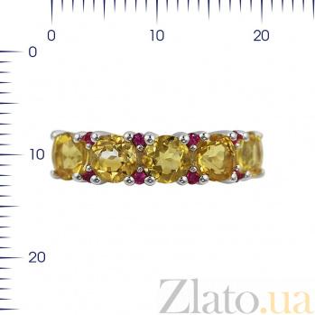 Серебряное кольцо Ярина с цитрином и красными фианитами 000081639