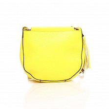 Кожаный клатч Genuine Leather 8887 лимонного цвета с замком-молнией и плечевым ремнем