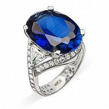 Золотое кольцо с сапфиром и бриллиантами Лагуна