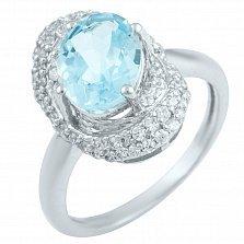 Серебряное кольцо Глорианна с голубым топазом и фианитами