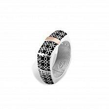 Кольцо из серебра Оксана с золотыми накладками, черной эмалью и фианитами