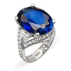 Кольцо из белого золота с сапфиром и бриллиантами 000006095