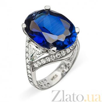Золотое кольцо с сапфиром и бриллиантами Лагуна R0654-1