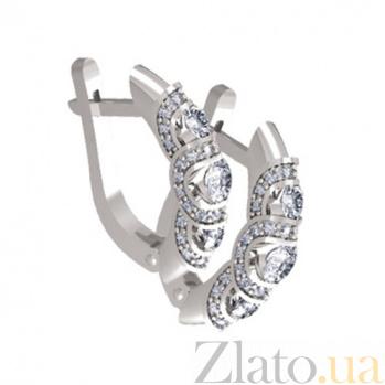 Золотые серьги с бриллиантами Алана KBL--С2291/бел/брил