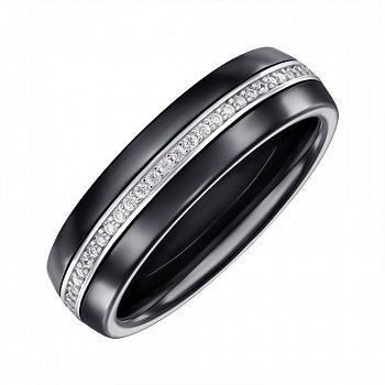 Кольцо серебряное с керамикой и фианитами 000147857