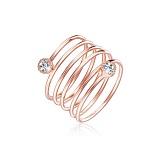 Серебряное кольцо Пружина с позолотой и фианитами
