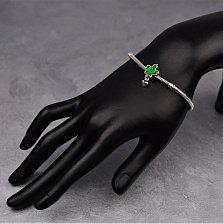Серебряный шарм Кленовый лист с зеленой эмалью и надписью Canada на подвеске-сердечке