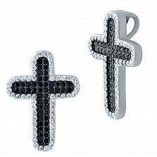 Серебряный крестик Ночная свеесть с черными и белыми фианитами