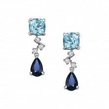 Серьги-подвески в белом золоте Аврора с голубыми топазами, сапфирами и бриллиантами