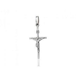 Православный крестик из белого золота с бриллиантом 000001595