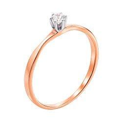 Золотое кольцо с фианитом в родированном касте 000101694