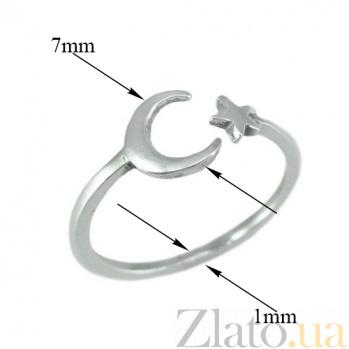 Серебряное разомкнутое кольцо Звезда и полумесяц 000079965