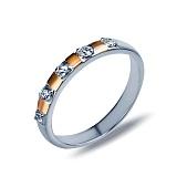 Серебряное кольцо с золотом Ю356К