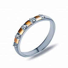 Серебряное кольцо Иоланта с золотом и фианитами