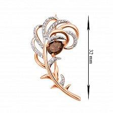 Золотая брошь в комбинированном цвете с раухтопазом и фианитами 000134371