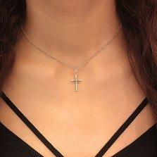 Серебряный крестик с фианитами Илария