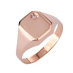 Золотое кольцо-печатка с фианитом Пабло