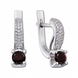 Серебряные серьги с гранатами и фианитами 000008337