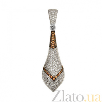 Кулон из белого золота Агата с фианитами VLT--ТТ3383