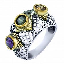 Кольцо из серебра и бронзы Аэлита с аметистом, хризолитом и цитрином