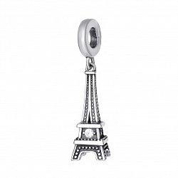 Серебряная подвеска-шарм Эйфелева башня с цирконием 000042898