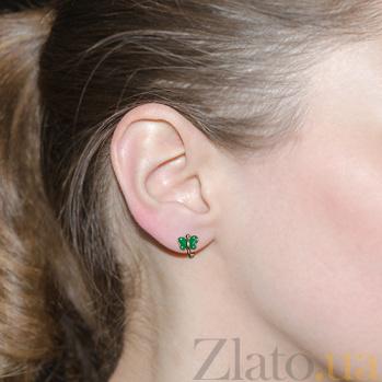 Детские золотые серьги с эмалью в зеленом цвете Бабочка 25341/1зел