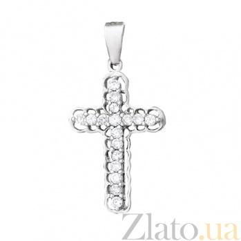 Серебряный крестик с фианитами Генриетта 000028567