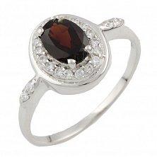 Серебряное кольцо Агнесса с гранатом и фианитами