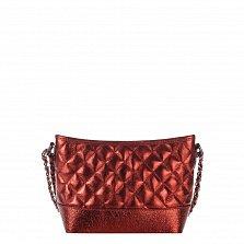 Кожаный клатч Genuine Leather 8816 бордово-красного цвета с замком-молнией и плечевым ремнем