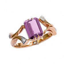 Золотое кольцо в красном цвете с бриллиантами и аметистом Вайле