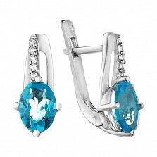 Серебряные серьги Наваждение с голубым кварцем и фианитами