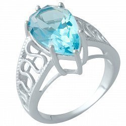 Серебряное кольцо с синтезированным аквамарином и родированием 000128296