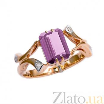 Золотое кольцо в красном цвете с бриллиантами и аметистом Вайле 000021535