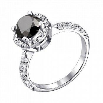 Кольцо из белого золота с черным и белыми бриллиантами 000137792