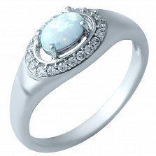 Серебряное кольцо Ксения с белым опалом и фианитами