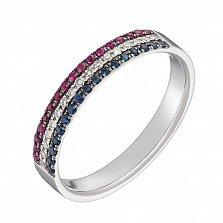 Кольцо в белом золоте Райана с рубинами, сапфирами и бриллиантами