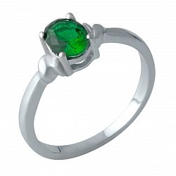 Серебряное кольцо с синтезированным изумрудом и родированием 000128839