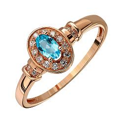 Кольцо из красного золота с топазом swiss и фианитами 000145928