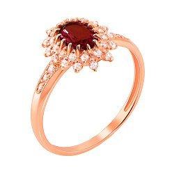 Кольцо из красного золота с гранатом и фианитами 000131271