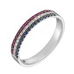 Кольцо в белом золоте с рубинами, сапфирами и бриллиантами 000049548