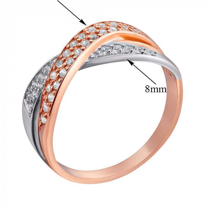 Кольцо в комбинированном цвете золота с фианитами 000000246 12056 с