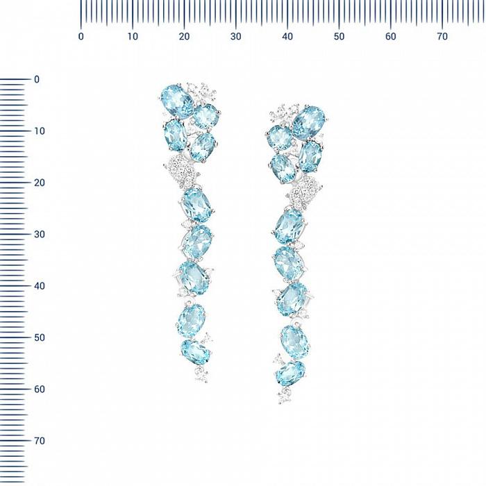 Серебряные серьги-подвески Вероника с топазами и фианитами 000081845