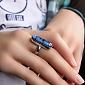 Серебряное кольцо с имитацией опала Акварель 000007032