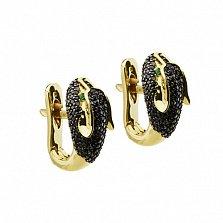 Золотые серьги с черными бриллиантами и изумрудами Пантера