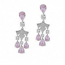Серебряные пуссеты-люстры Дерзкая нежность с розовыми фианитами