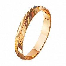 Золотое обручальное кольцо Энергия любви с насечкой