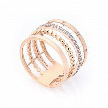 Золотое кольцо Тореа с фантазийной шинкой и белыми фианитами