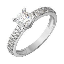 Серебряное кольцо с фианитами Улада 000019424