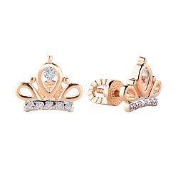 Серьги-пуссеты из красного золота с коронами и фианитами 000130066