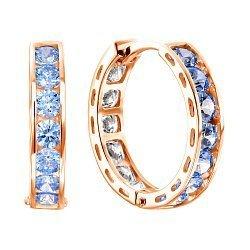Золотые серьги с голубым и белым цирконием Swarovski, 15мм 000104618